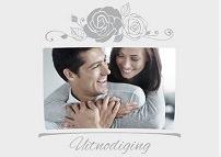 klassieke trouwkaarten - uitnodiging klassiek grijs